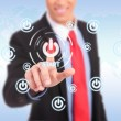 Stock Photo: Businessman push the start button