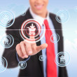 Business man push shopping button — Stockfoto