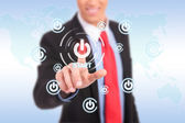 Businessman push the start button — Stock Photo