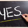 Writing YES on a black board — Stock Photo