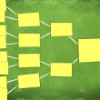 Diagram of an organization made from postits - Stock Photo
