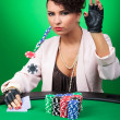 Sexy woman calls poker bet — Stock Photo