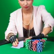 Stock Photo: Young womgoes all in