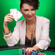 Woman winning at poker — Stock Photo #21939773
