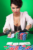 Young woman goes all in — Stock Photo