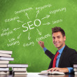 Man writes seo concepts - Stock Photo