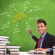 Man writes web marketing concepts - Stock Photo