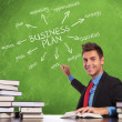 Man writes business plan concepts - Stock Photo
