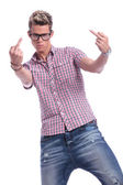 Casual man middle fingers — Stock Photo
