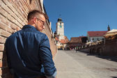 Casual man in Sibiu — Stock Photo