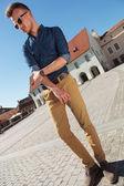 Casual man posing in Sibiu — Stock Photo