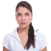 Casual woman looks baffled — Stock Photo