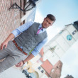 Casual man walks in Sibiu city — Stock Photo