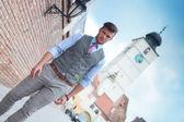 Casual man walks in Sibiu city — Stock Photo