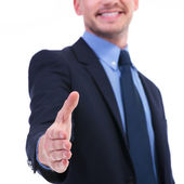 Business man hand shake focus — Stock Photo