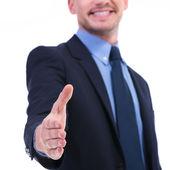 Business man hand shake focus — Stock Photo