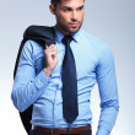 Business man holds jacket on shoulder — Stock Photo #27767051