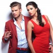 Fashion man and woman couple — Stockfoto