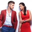 Casual fashion man and woman looking at each other — Stock Photo #30365895
