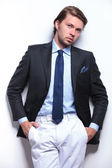 Business man with unbuttoned jacket — Stock Photo