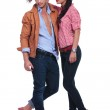 Casual couple with woman wearing hat — Stock Photo