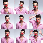 Young fashion man with red nose — Foto de Stock