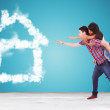Couple pointing to thier dream house made of clouds — Stock Photo #32380729