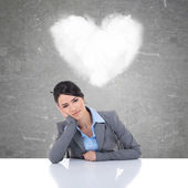Young business woman being in love — Stock Photo
