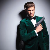 James Bond wannabe young assasin — Stock Photo