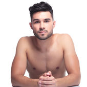 Un shaved young beauty man — Stock Photo