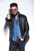 Casual man in leather jacket making the ok sign — Stock Photo