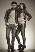 In love couple dressed in leather clothes — Stock Photo