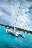 Catamaran in a bay near saona island — Stock Photo