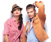 Fashion young couple looking at the camera — Stock Photo