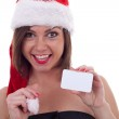 Santa Claus woman with card — Stock Photo #4302465