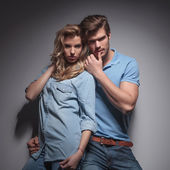 Sensual casual couple in a provocative pose — Stock Photo