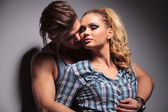 In love casual couple hugging with passion — Stock Photo
