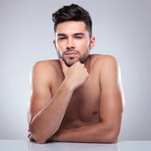 Young topless man is thinking  — Stock Photo