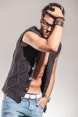 Dramatic fashion model posing in studio — Foto de Stock