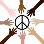Hands around Peace symbol — Stock Vector #26506421