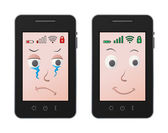 Sad and happy mobile — Vector de stock