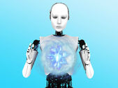 Robot woman holding plasma sphere. — Stock Photo