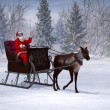 Stock Photo: Reindeer pulling sleigh with waving SantClaus.