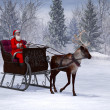 Reindeer pulling a sleigh with Santa Claus. — Stock Photo