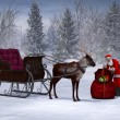 Stock Photo: Santpreparing his sleigh ride.