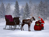 Santa preparing his sleigh ride. — Stock Photo