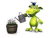 Cute cartoon monster watering flowers. — Stock Photo