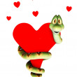 Cartoon snake in love, cuddling a heart. — Stock Photo