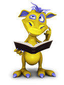 Cute cartoon monster thinking about something while reading. — Stock Photo