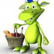 Cute cartoon monster holding a picnic basket. — Stock Photo